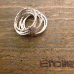 Anello 7 fili in argento con serpente della linea Hand Made di Etoile Gioielli